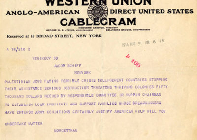 JDC Founding Telegram, 1914