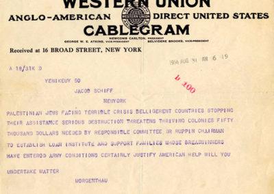 JDC Founding Telegram, 1914