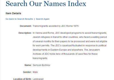 Genealogical Resource for Soviet Jewish Families Assisted by JDC in Vienna and Rome