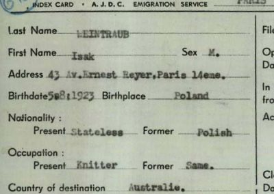 AJDC Paris Emigration Service Index Cards Added to Names Index