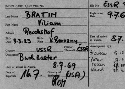 JDC Emigration Service Cards of 1960s Czech Refugees Added to Names Index